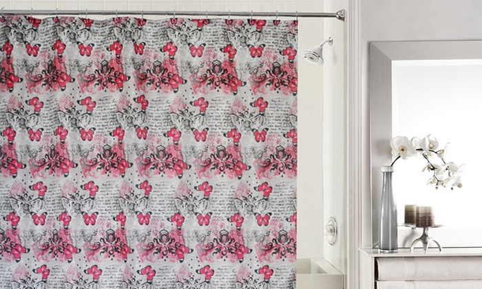72x72 Butterfly Fabric Shower Curtain With 12 Resin Hooks