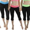 Women's Capri Yoga Pants with Contrast Waist