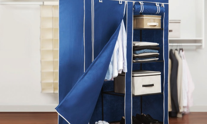 """Simplify 48"""" Portable Closet: $39.99 for a Simplify 48"""" Portable Closet in Black or Blue ($66 List Price). Free Shipping and Returns."""