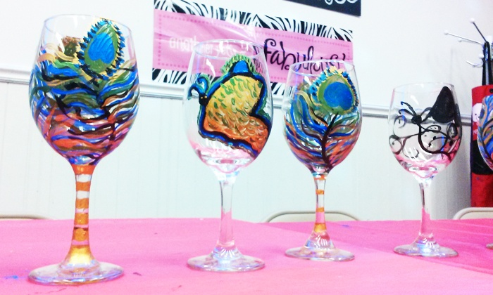 Techworld, LLC - Gravesend: BYOB Wineglass-Painting Class for One, Two, or Four (Up to 60% Off)