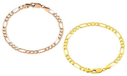 Men's Figaro Chain Bracelet in Solid 10K Gold