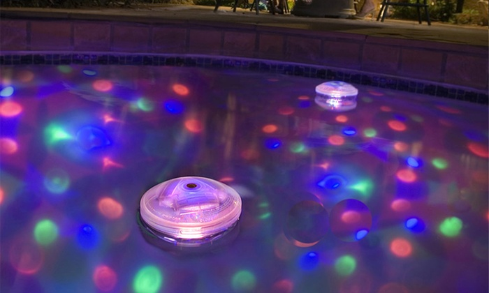 Floating multicolor disco light groupon goods for Pool light show waikiki