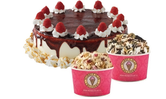 Marble Slab Creamery - Multiple Locations: Large Cake or Two Groupons, Each Good for $20 Worth of Frozen Treats at Marble Slab Creamery (Up to 40% Off)