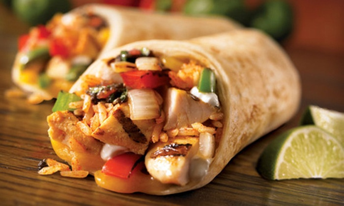 Baja Fresh - Multiple Locations: Tacos or Burritos with Chips, Salsa, and Soft Drinks for Two or Four at Baja Fresh (Up to 53% Off)
