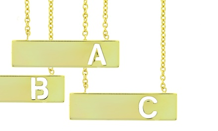 14K Gold Plated Initial Bar Necklace