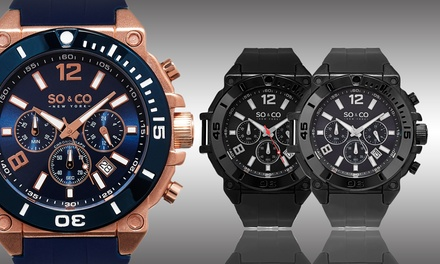 SO&CO New York Robust Men's Chronograph Silicone Strap Watch