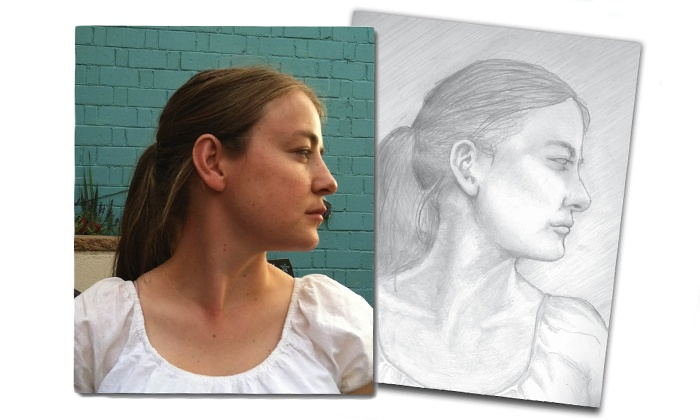 """Insight Creative Works - Denver: One 7""""x9"""", 8.5""""x11"""", or 11""""x17"""" Hand-Drawn Portrait from Insight Creative Works (Up to 56% Off)"""