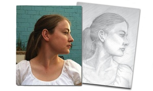 "Insight Creative Works: One 7""x9"", 8.5""x11"", or 11""x17"" Hand-Drawn Portrait from Insight Creative Works (Up to 56% Off)"