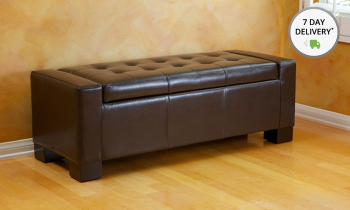 Tufted Leather Storage-Bench Ottoman: Tufted Leather Storage-Bench Ottoman  in Black, - Tufted Leather Storage-Bench Ottoman Groupon