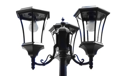 Solar-Powered 3-Head Lamp Post and Planter