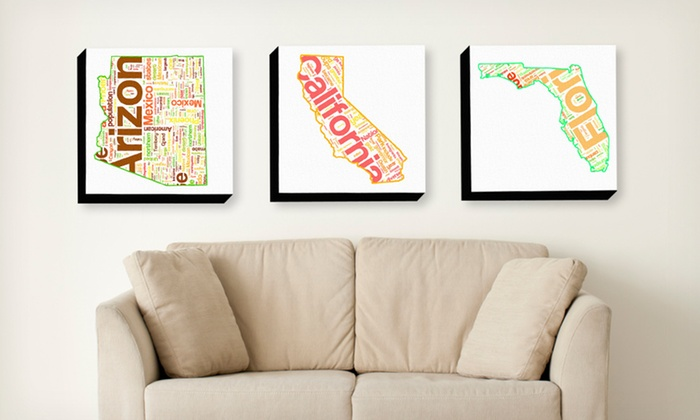 """16""""x16"""" State Typography Prints: $32.99 for a 16""""x16"""" State Typography Print ($120 List Price). Multiple States Available. Free Shipping and Returns."""