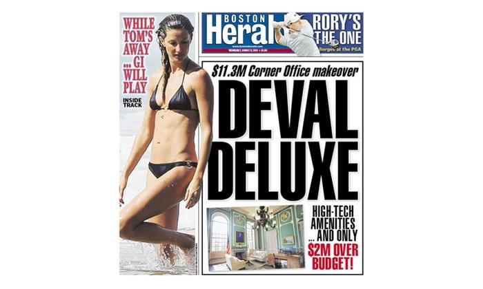 "Boston Herald - Boston: 24-Week Sunday or 7-Day ""Boston Herald"" Subscription (Up to 68% Off)"