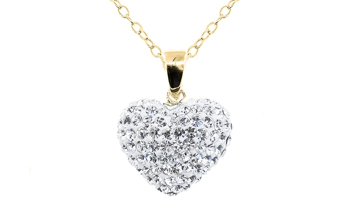 Crystal heart pendant groupon goods heart pendant with swarovski elements crystals in 14k gold aloadofball Images