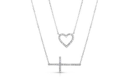 1/10 CTTW Diamond Double Layer Necklace - By Diamond Affection