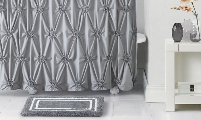 Pintucked Shower Curtain With Memory Rug Set (14 Piece): Pintucked Shower  Curtain ...