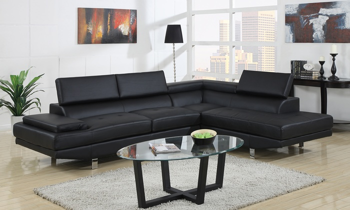 Modern Black Bonded Leather Sectional Sofa: Modern Black Bonded Leather  Sectional Sofa