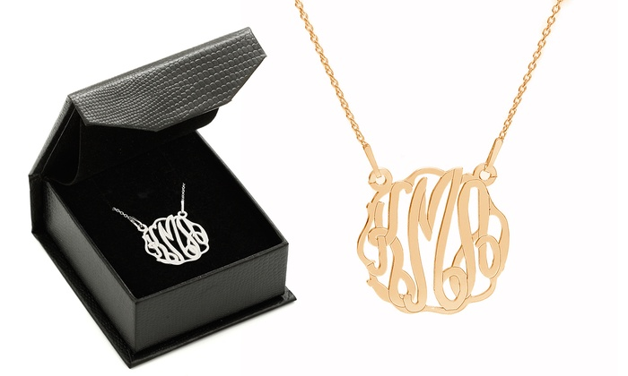 SilvexCraft Design: Custom Monogram Pendant in Rhodium or 24K Gold Plating over Solid Sterling Silver from Silvex Design