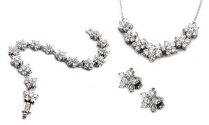 Crystal Flower Necklace, Earrings, Or Bracelet With Swarovski Elements