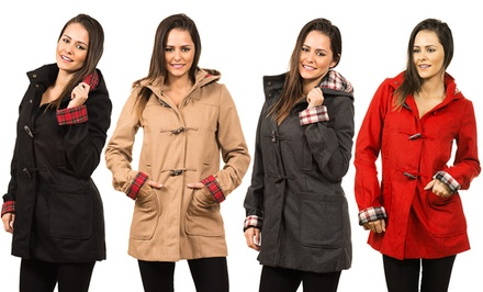 Miss London Plus-Size Women's Wool Toggle Coat with Plaid Roll Cuffs and a Hood