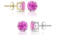 GROUPON: 2.00 CTW Genuine Pink Sapphire Stud Earrings 2.00 CTW Genuine Pink Sapphire Stud Earrings