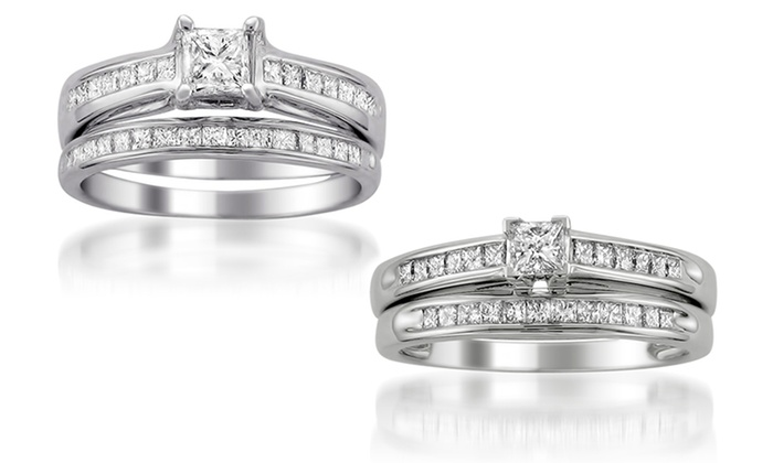 14-Karat White Gold and Diamond Bridal Ring Sets: Princess-Cut Diamond Bridal Ring Sets in 14k White Gold from $899.99–$1,799.99