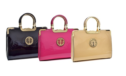 AG/Amphora Faux Patent Leather Briefcase Emblem Bag with Removable Shoulder Strap