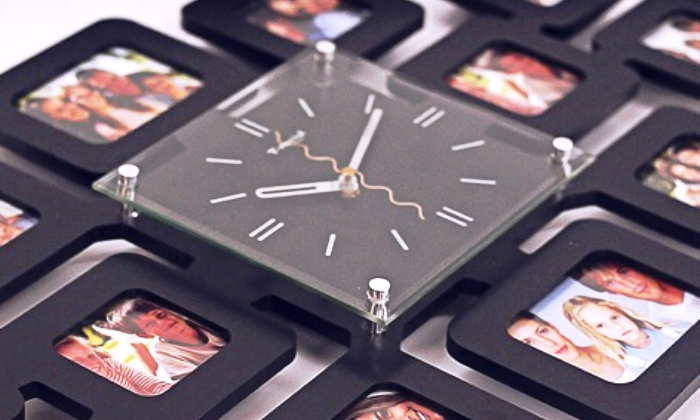 Wall Clock with 12 Photo Frames Groupon Goods