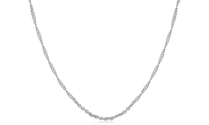 14K White Gold Curb Chain: 14K White Gold Curb Chain