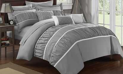 Superbe Shop Groupon Penelope Pleated And Ruffled Comforter Set With Sheets  (10 Piece)