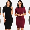 Women's Fully Lined Ribbed Bodycon Dress