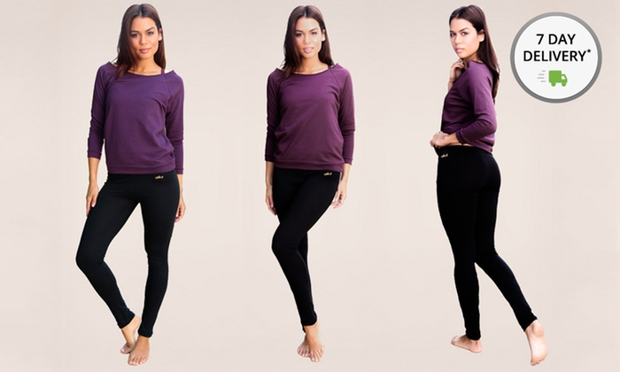 Two Pairs of InTouch Organic Cotton Yoga Leggings: Two Pairs of InTouch Naturally Slimming OrganicCottonYoga Leggings. Multiple Sizes Available. Free Returns.