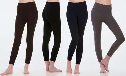 Women's Fleece-Lined Cable Leggings (6-Pack)
