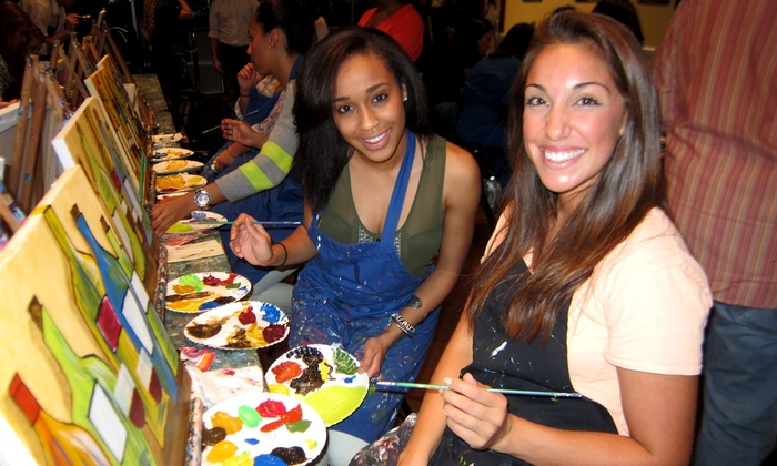 Pinot's Palette - Midway District: Two- or Three-Hour Paint and Sip Class for Two or Four at Pinot's Palette (Up to 51% Off)