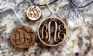 Monogrammed Wood And Lucite Necklaces From Lilydeal (up To 57% Off). Four Options Available.