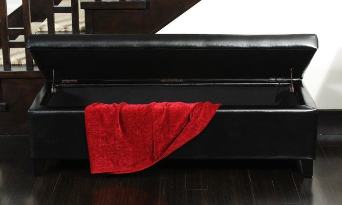 Leather Storage Bench Ottoman Groupon Goods
