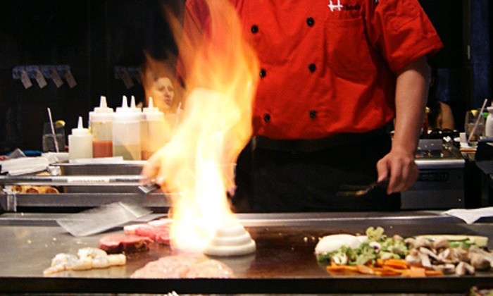 Hibashi Teppan Grill & Sushi Bar - Broadstone Galleria: Hibachi Cuisine and Sushi at Hibashi Teppan Grill & Sushi Bar (Half Off). Two Options Available.