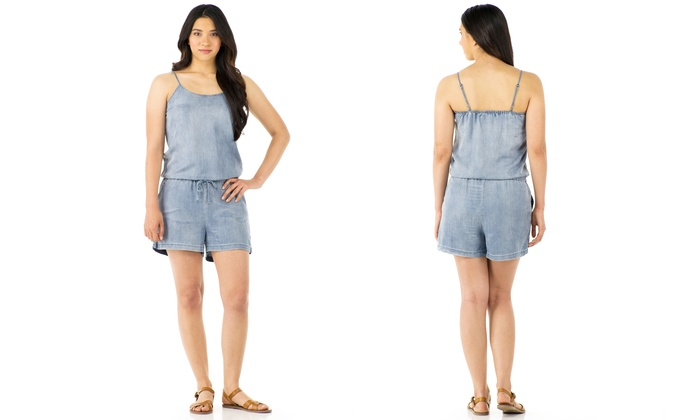 Sociology Women's Chambray Romper | Groupon Exclusive