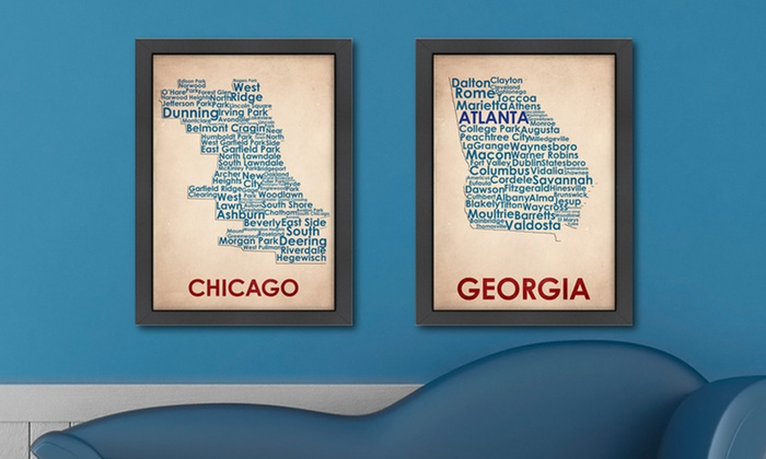 $39.99 for a Framed City, State, or Country Map ($80 List Price). Multiple Options Available. Free Shipping and Returns.