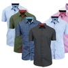 Men's Short-Sleeve Slim-Fit Shirt with Contrast Trim