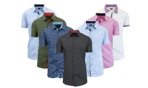 Men's Short-Sleeve Slim-Fit Shirt with Contrast Trim at Men's Short-Sleeve Slim-Fit Shirt with Contrast Trim, plus 6.0% Cash Back from Ebates.