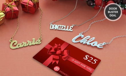 Personalized Nameplate Necklace and Free $25 Gift Card from Monogram Online. Multiple Styles from $24.99–$29.99.
