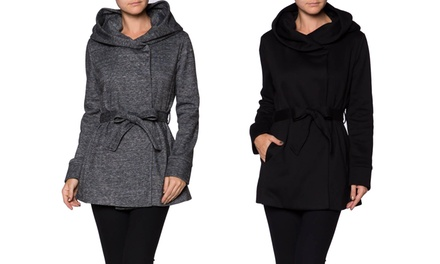 Women's Hooded Wrap Jacket with Belt
