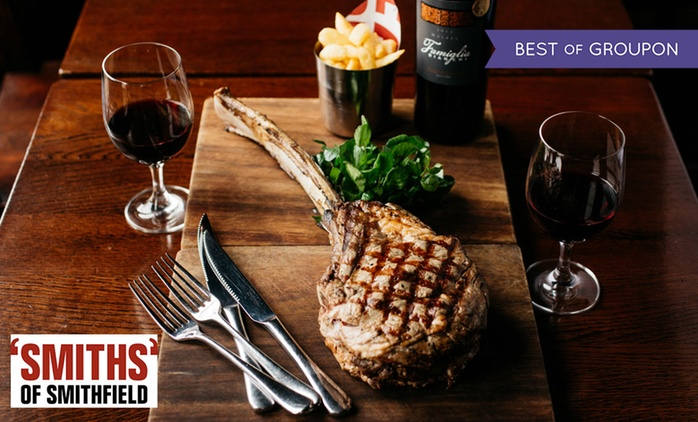 Tomahawk Steak with Chips and a Bottle of Malbec for Two at 'SMITHS' of Smithfield (45% Off)