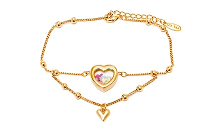 Double Heart Bracelet Made with Loose Swarovski Elements