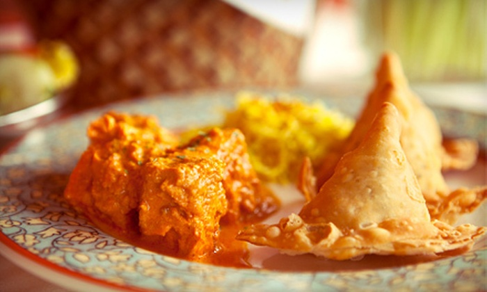 Cafe Taj - McLean: $29 for a Three-Course Indian Meal with Appetizer and Dessert for Two at Cafe Taj in McLean (Up to $58.43 Value)