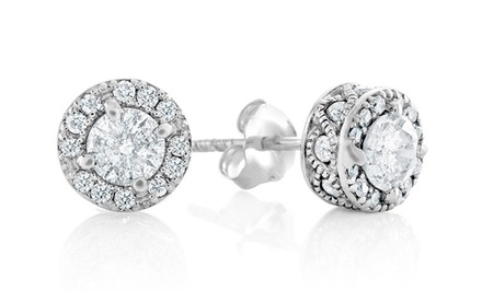 White-Diamond Round Stud Earrings in 10-Karat White Gold. Multiple Options from $249.99–$1,799.99. Free Returns.