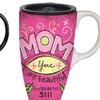Mom-Themed Ceramic Latte Travel Mugs with Gift Box