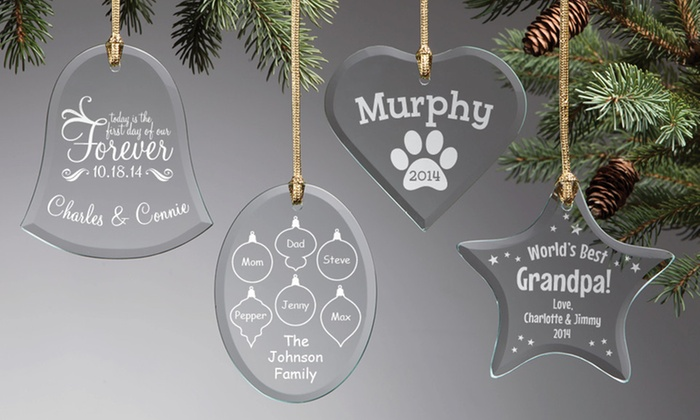 Personalized Planet: One, Three, or Five Personalized Glass Ornaments from Personalized Planet (Up to 54% Off)