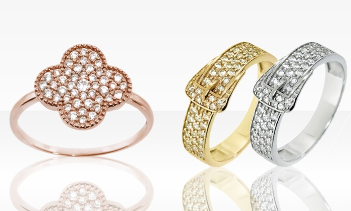 Sterling Silver and Gold Cubic Zirconia Buckle and Clover Rings: Sterling Silver and Gold Cubic Zirconia Buckle and Clover Rings. Multiple Styles Available.