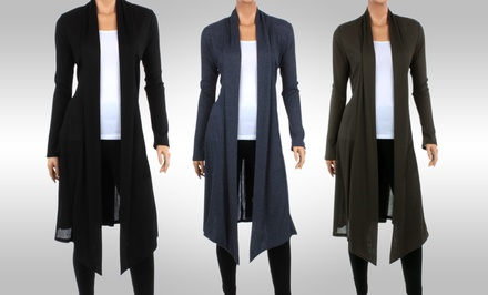 Women's Ribbed Knee-Length Cardigans